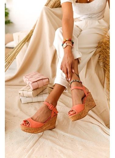 Limoya Amour Portakal Mantar Dolgu Topuklu Sandalet Oranj